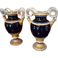 Pair of Early 19th Century Meissen Urns