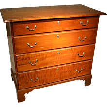 American 18th Century Curly Maple and Maple Chippendale Chest
