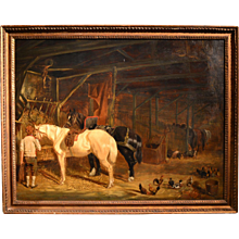 "English stable scene, circle of John Herring, 31"" x 39""."