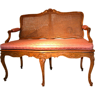 French Provincial Louis XV Settee
