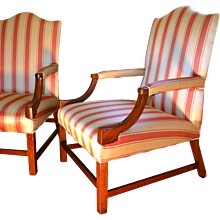 Pair of George III Chippendale  18th Century library chairs