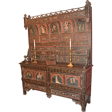 Italian Painted Cupboard, 17th or 18th Century