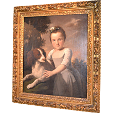 English Portrait of a Young Girl and Her Dog