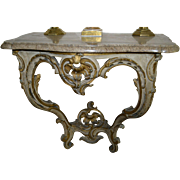 Louis XV  Rococo 18th Century Gray Painted and Gilded Console