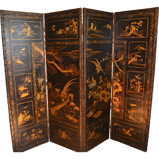 Asian Design Black Lacquer on Leather Screen, 18th or Early 19th Century