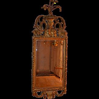 English Hepplewhite looking glass, late 18th century