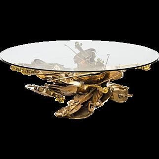 "Fernandez Arman, "" violons"" bronze sculpture coffee table"