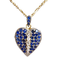 Amazing Late 1890s French Sapphire Diamond Silver Gold Heart Locket Pendant