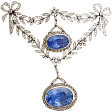 Belle Epoque Certified Ceylon Sapphire Diamond Gold Platinum Brooch Pin
