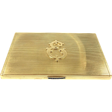 Bulgari 18K Yellow Gold & Sapphire Compact Box