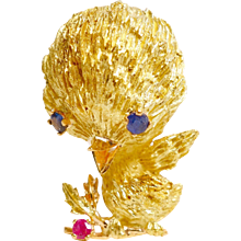 Vintage 18K Yellow Gold Tweety Bird Brooch