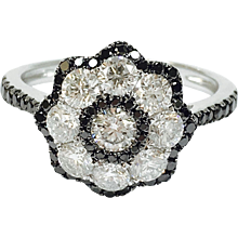 Black and White Diamond 14K White Gold Floret Ring