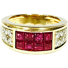 Cartier Invisible Set Ruby Diamond 18K Yellow Gold Band Ring