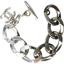 CHANEL 13K Chunky Chain CC Link Two Tone Metal Bracelet