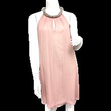 Diane von Furstenberg 'Lainey' Jeweled Halter Blush Silk Shift Dress