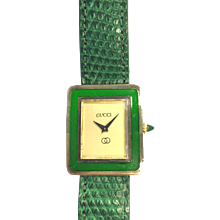 Vintage Classic GUCCI Green Enamel Vermeil Manual-Wind Watch