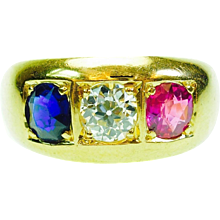 Antique French Ruby Sapphire Diamond 18K Yellow Gold Three Stone Ring
