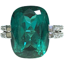 Tanagro Blue Green Tourmaline Diamond Platinum Ring