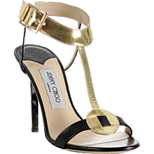 Jimmy Choo Black Leather Mirrored T-Strap 'Latch' Sandals 38.5