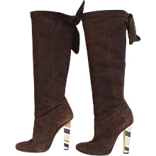Jimmy Choo Suede Antonia Sue Coffee Boots Size 38