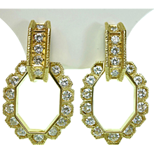 1960s French 3.50 Carats of Diamonds 18K Yellow Gold Earrings