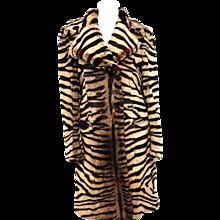 Salvatore Ferragamo Lapin Fur Animal Print Leather Coat
