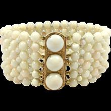 Vintage Angel Skin Coral and 18K Yellow Gold Bracelet