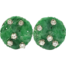 Vintage Carved Jade and Diamond 14K White Gold Earrings
