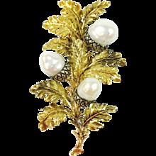 Buccellati Pearl 18K Gold Acorn Brooch