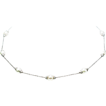 Michael B Pearl Diamond Platinum Necklace