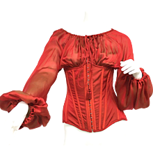 Gorgeous Jean Paul Gaultier Lace Up Corset Red Silk Blouse New