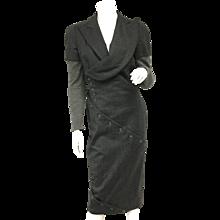 Vintage Alexander Mcqueen Gray Wool Button Dress