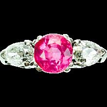 Antique Burma No Heat Pink Sapphire Diamond Platinum Ring
