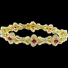 Ruby and Diamond 18K Yellow Gold Bracelet