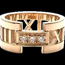 Tiffany & Co. Atlas 18K Rose Gold Diamond Open Ring