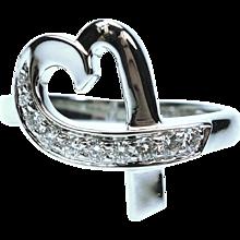 Tiffany & Co. Paloma Picasso Diamond 18K White Gold Loving Heart Ring
