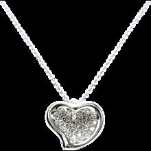 Tiffany & Co. Elsa Peretti Full Heart Pave Diamond Platinum Pendant