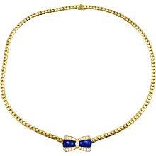 Vintage Van Cleef & Arpels Lapis Lazuli Diamond 18K Yellow Gold Bow Necklace