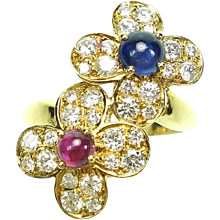 Van Cleef & Arpels Ruby, Sapphire and Diamond 18K Yellow Gold Flower Ring