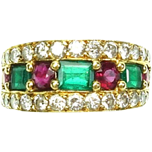 Vintage Van Cleef & Arpels Emerald, Ruby and Diamond Gold Band Ring