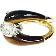 Vintage Tiger's Eye and Diamond Gold Buckle Ring