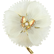 Amazing Enamel Pearl Diamond Butterfly and Flower 18K Gold Brooch Pendant