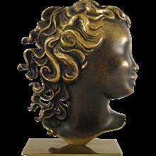 Brass Bust of a Woman's Head