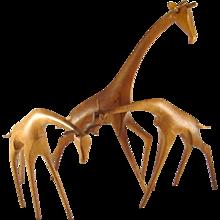 Elegantly Walking Giraffe - Workshop Hagenauer - Wooden Animal Figurine