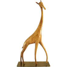Standing Giraffe - carved wood - Karl Hagenauer