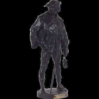 Monumental Patinated Bronze Escholier by Emile Louis Picault, France, 1890