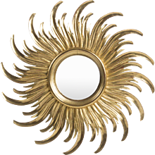 Curved Mid-Century Medium Sized Sunburst Mirror, France, circa 1950s