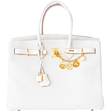 Hermes Craie Chalk 35cm Togo Birkin Gold GHW Tote Bag Summer Chic