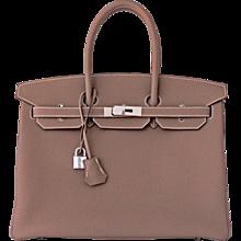 Hermes Etoupe Togo 35cm Birkin Palladium PHW Tote Bag 2016 Production X Stamp
