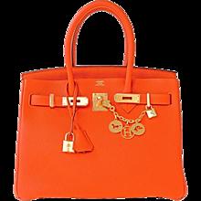 Hermes Feu Orange 30cm Togo Birkin Gold GHW Satchel Tote Bag Gorgeous